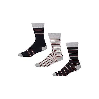Ben Sherman Men's 3 Pack Everyday Calf  Socks Navy  Grey  Stripey Shaun Peel