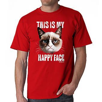 Grumpy Cat Happy Face Men's Red T-shirt