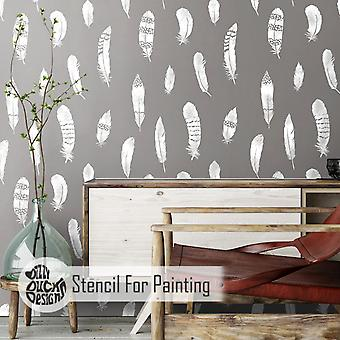 Feather Wall Stencil