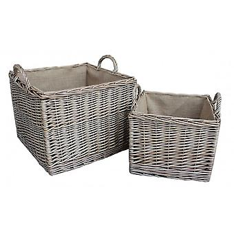 Set of 2 Antique Wash Square Hessian Lined Log Basket