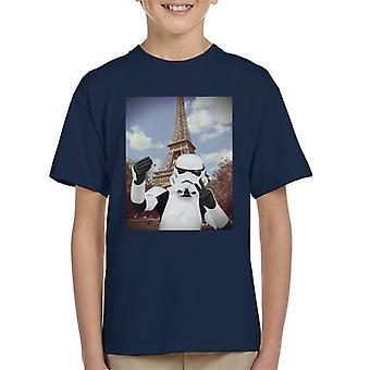 Original Stormtrooper Selfie Eiffel Tower Kid's T-Shirt