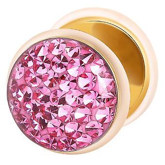 Fałszywe oszust ucha Plug złotem, kolczyki, biżuteria ciała, z różowym Multi Crystal