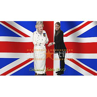 Queen Elizabeth II - White Dress Lifesize Cardboard Cutout / Standee (Diamond Jubilee 2012)