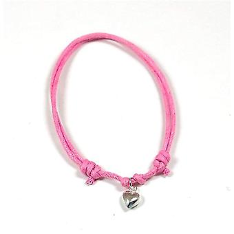 Jo For Girls Sterling Silver Puffed Heart Charm Adjustable Pink Cord Bracelet
