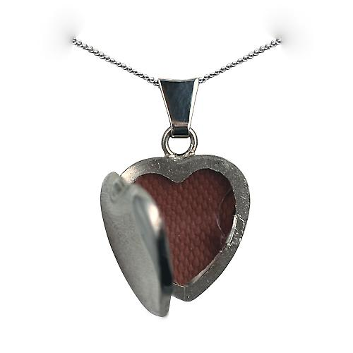 9ct White Gold 17x16mm plain heart shaped Locket with a curb Chain 16 inches Only Suitable for Children