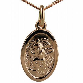 9ct Rose Gold 17x11mm Oval St Christopher Pendant mit einem Bordstein Kette 16 Zoll nur geeignet für Kinder