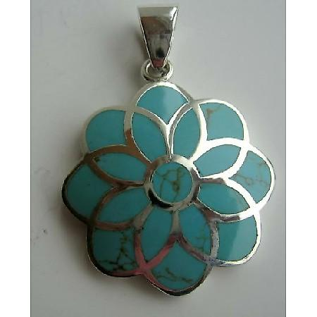 Sterling Silver Turquoise Flower Pendant Weight 14.5 Gm