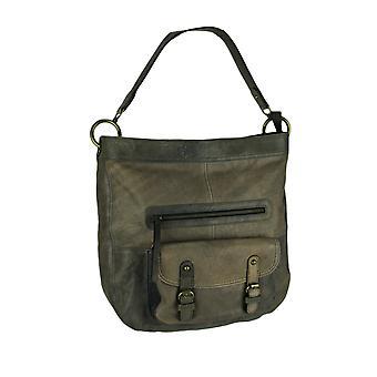 Taupe Distressed Genuine Leather Oversize Handbag