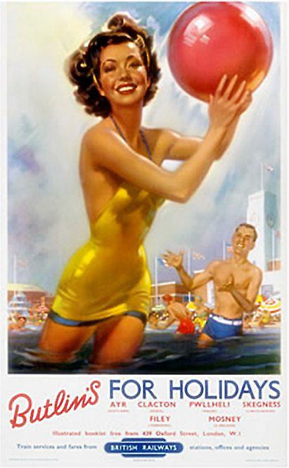 Butlins for Holidays (girl with ball)(old rail ad.) fridge magnet (se)
