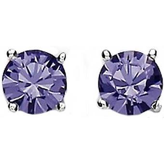 Bella 6mm Cubic Zirconia Stud Earrings - Silver/Lilac