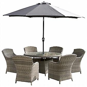 Royalcraft Wentworth Rattan 6 Seat Round Imperial Dining Set