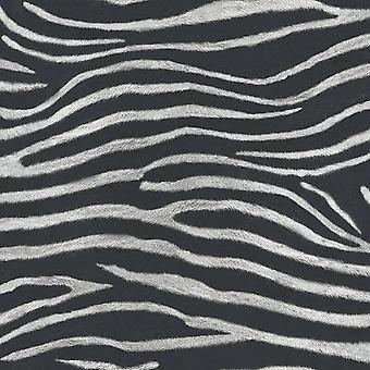 Arthouse Serengeti Nights Zebra Stripe Wallpaper Glitter Shimmer Black White