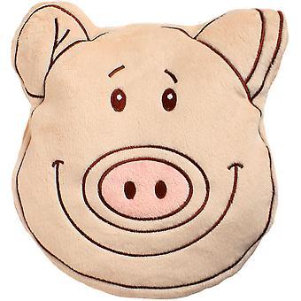 Children's Plush Velour Cherry Stone Cushion: Pig