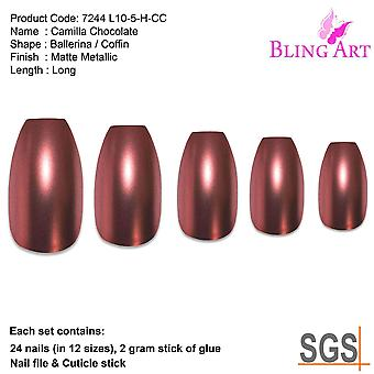 False nails by bling art brown matte metallic ballerina coffin fake acrylic tips