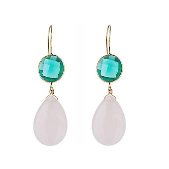 Gemshine earrings green tourmalines and rose quartz drop 925 silver plated