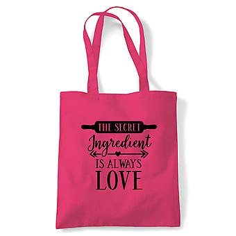 The Secret Ingredient Is Always Love Tote | Signature Creme Pat Hollywood Handshake Winner | Reusable Shopping Cotton Canvas Long Handled Natural Shopper Eco-Friendly Fashion