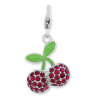925 Sterling Argent Poli Rhodium plaqué Lobster Claw Closure Enameled 3-d Cerises With Lobster Clasp Charm