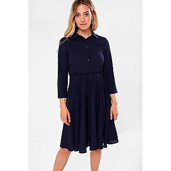iClothing Siyana Belted Shirt Dress In Navy-16