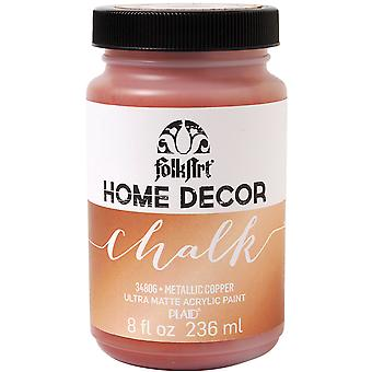 FolkArt Home Decor Chalk Finish Paint Metallic 8oz-Copper