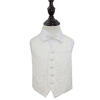 Boy's Ivory Scroll Patterned Wedding Waistcoat & Bow Tie Set