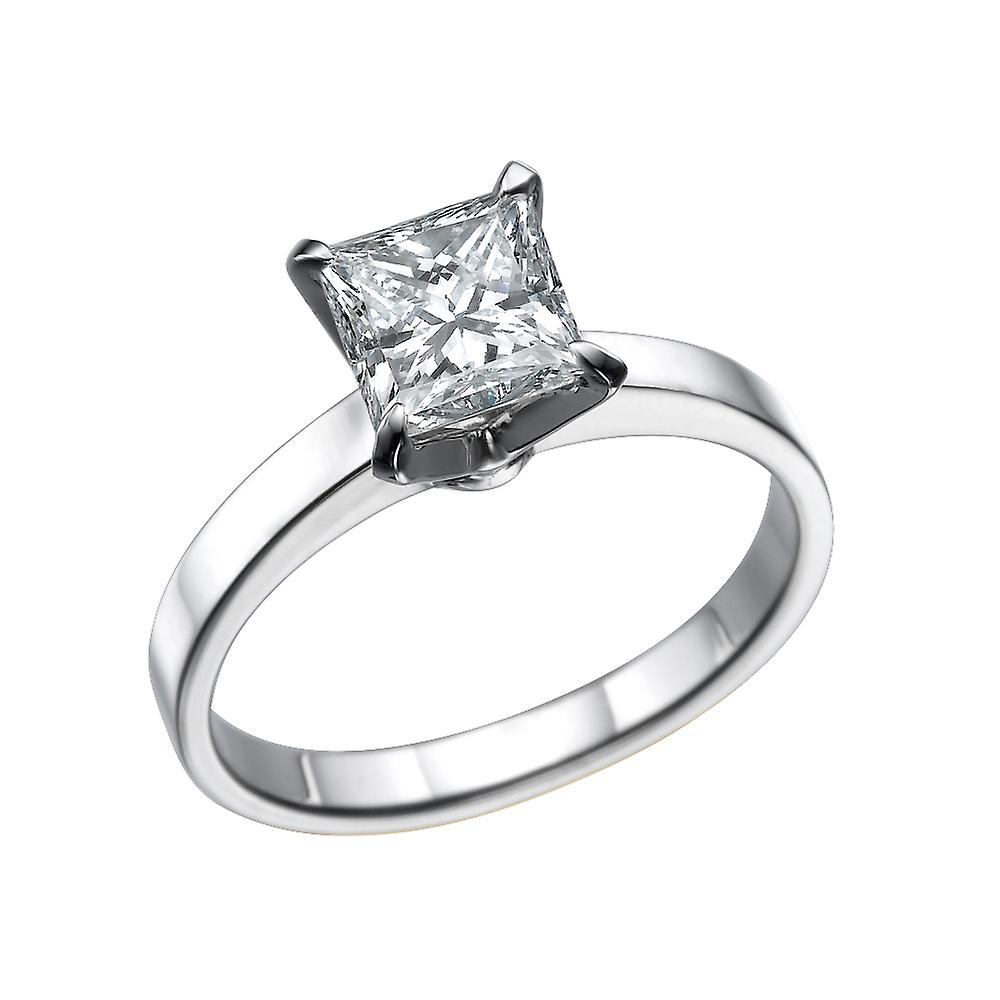 Tolkowsky Diamond 4 Carat Solitaire Ring 14K White Gold