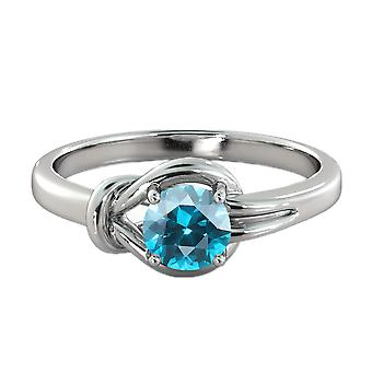 0.50 CT Blue Topaz Ring 14K White Gold Knot  4 prongs Round
