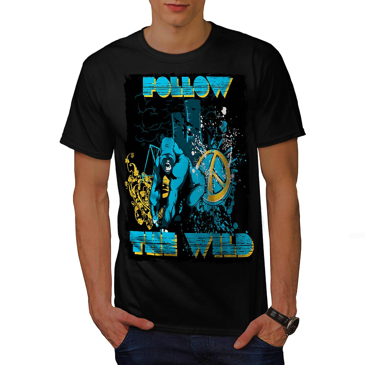 Follow the Wild Chimp Wilderness Men Black T-shirt | Wellcoda
