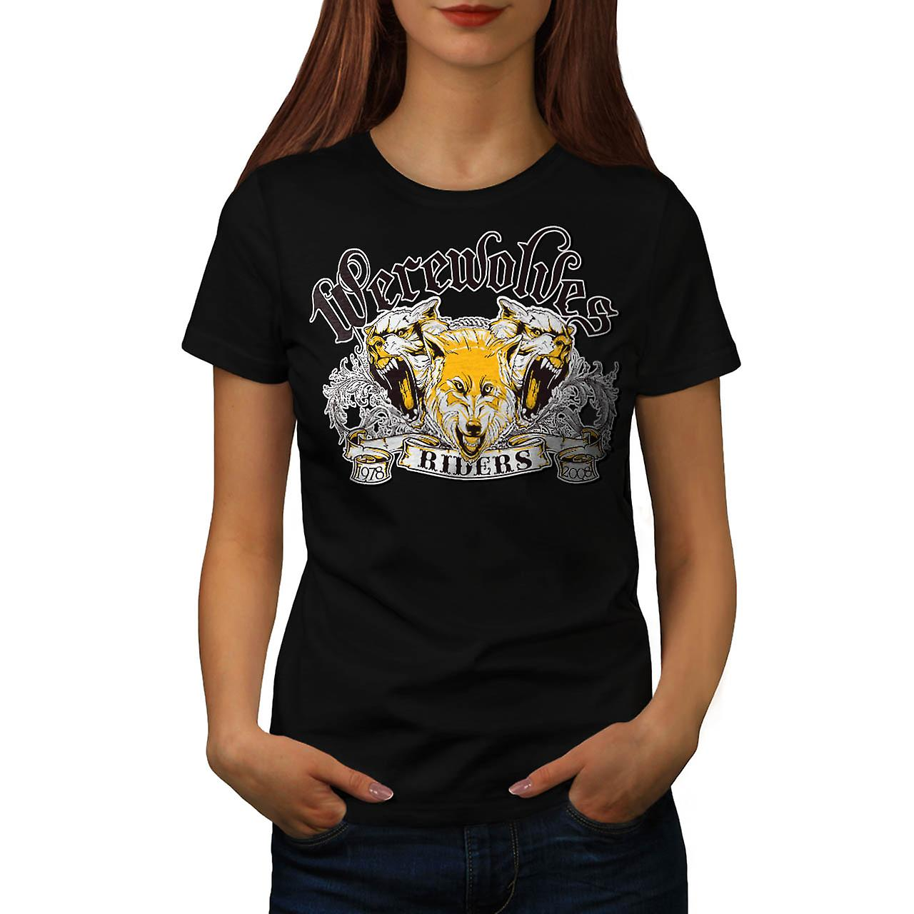 Werewolves Riders Biker Wolf Women Black T-shirt | Wellcoda
