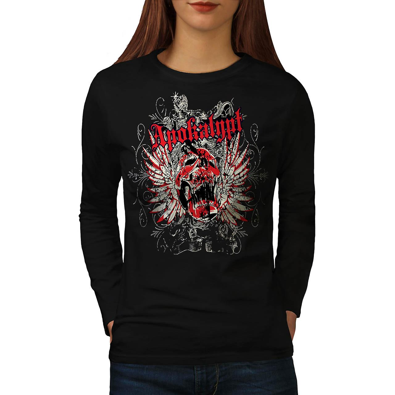 Apokalypt Feather Skull Women Black Long Sleeve T-shirt | Wellcoda