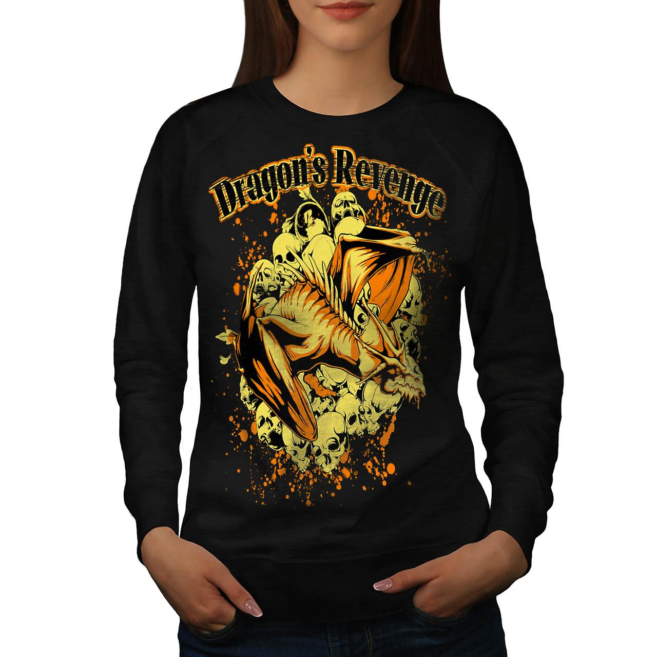 Dragon Revenge Rage Myth Monster Women Black Sweatshirt | Wellcoda