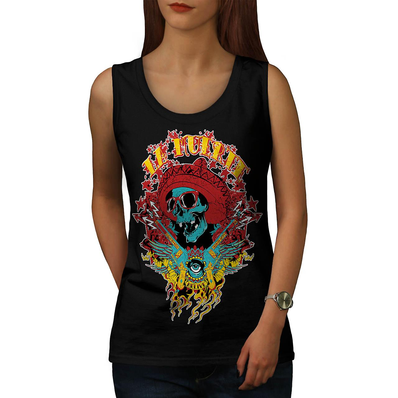 Mexico Skull Gun Life Shade Head Women Black Tank Top | Wellcoda