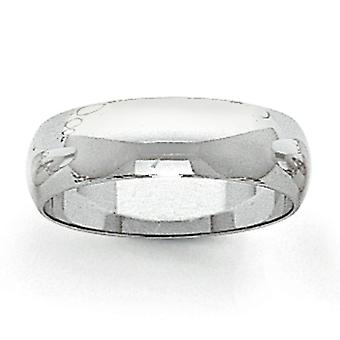14k white gold Solid Polished Half Round Engravable 6mm Half-Round Featherweight Band Ring - Ring Size: 4 to 12