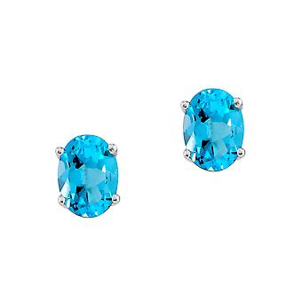 14k White Gold Oval Blue Topaz Stud Earrings