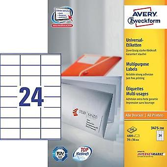 Avery-Zweckform 3475-200 Labels (A4) 70 x 36 mm Paper White 4800 pc(s) Permanent All-purpose labels Inkjet, Laser, Copie