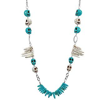 Crackle finition Turquoise et blanc d'os Skull and Bones collier