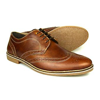 Bürokratie Checkley Mens braunen Leder Gibson Brogues