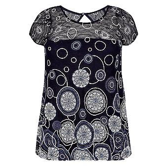 PAPRIKA Navy & Multi Lace Overlay Circle Print Top