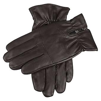 Dents Bilbury Fleece Lined Hairsheep Leather Biker Gloves - Brown