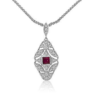 Gold Filigree Princess Cut Ruby and Diamond Necklace with 18
