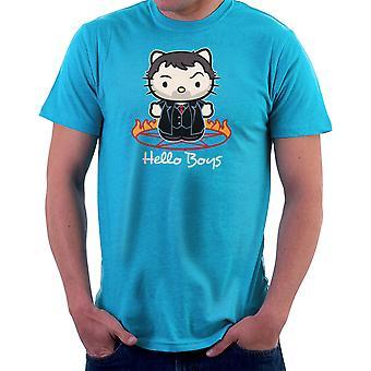 Hallo Jungs Crowley König der Hölle übernatürliche Kitty Herren T-Shirt