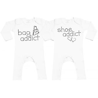 Spoilt Rotten Bag & Shoe Addict Baby Footless Romper Twins Set