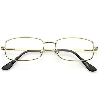 Classic Rectangle Eye Glasses Thin Metal Clear Lens 50mm