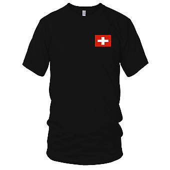 Switzerland Country National Flag - Embroidered Logo - 100% Cotton T-Shirt Ladies T Shirt