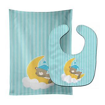 Carolines Treasures  BB8616STBU Baby Boy Bear Sleeping Baby Bib & Burp Cloth
