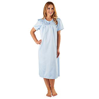 Slenderella ND8235 Women's Blue Satin Night Gown Short Sleeve Nightdress