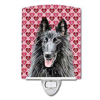 Belgian Sheepdog Hearts Love and Valentine's Day Portrait Ceramic Night Light