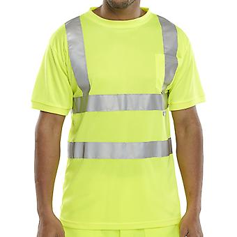 B-Seen Hi Vis Crew Neck T-Shirt Saturn Yellow - Bscntsen