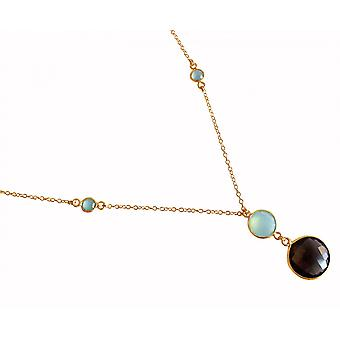 Gemshine - ladies - necklace - gold-plated pendant 925 Silver - - faceted chalcedony - smoky quartz - sea green - Brown - - 45 cm