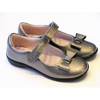 Lelli Kelly Pewter Patent Leather Girls Shoes With Bow & Free Gift