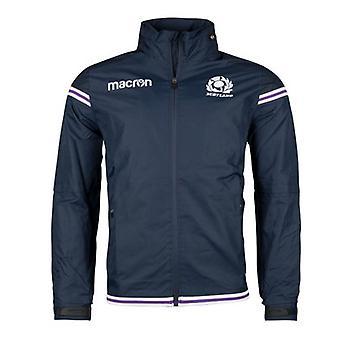 2017-2018 Scotland Macron Rugby Full Zip Waterproof Mesh Jacket (Navy)